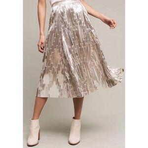 Maeve Silver Metallic Shiny Eclat Pleated Skirt